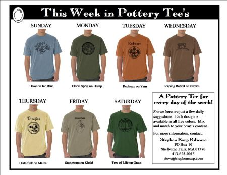 This Day in Pottery Tees Weekly Samples